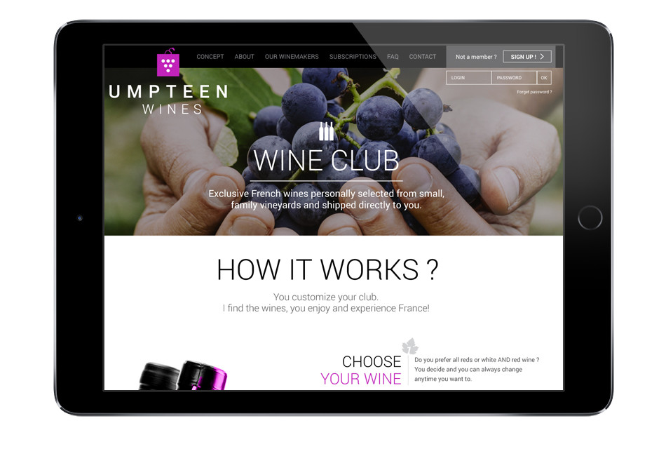 Site internet - page accueil - Umpteen Wines